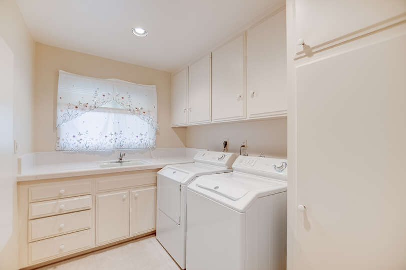 A large and bright laundry room are great for longer stays
