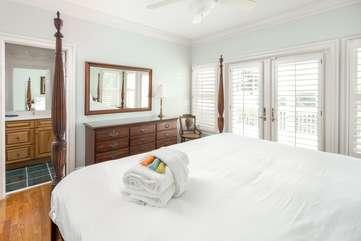 1st Floor King Bedroom with En Suite Bathroom and Porch Access