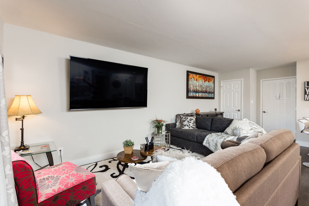 Large sectional and flat screen TV