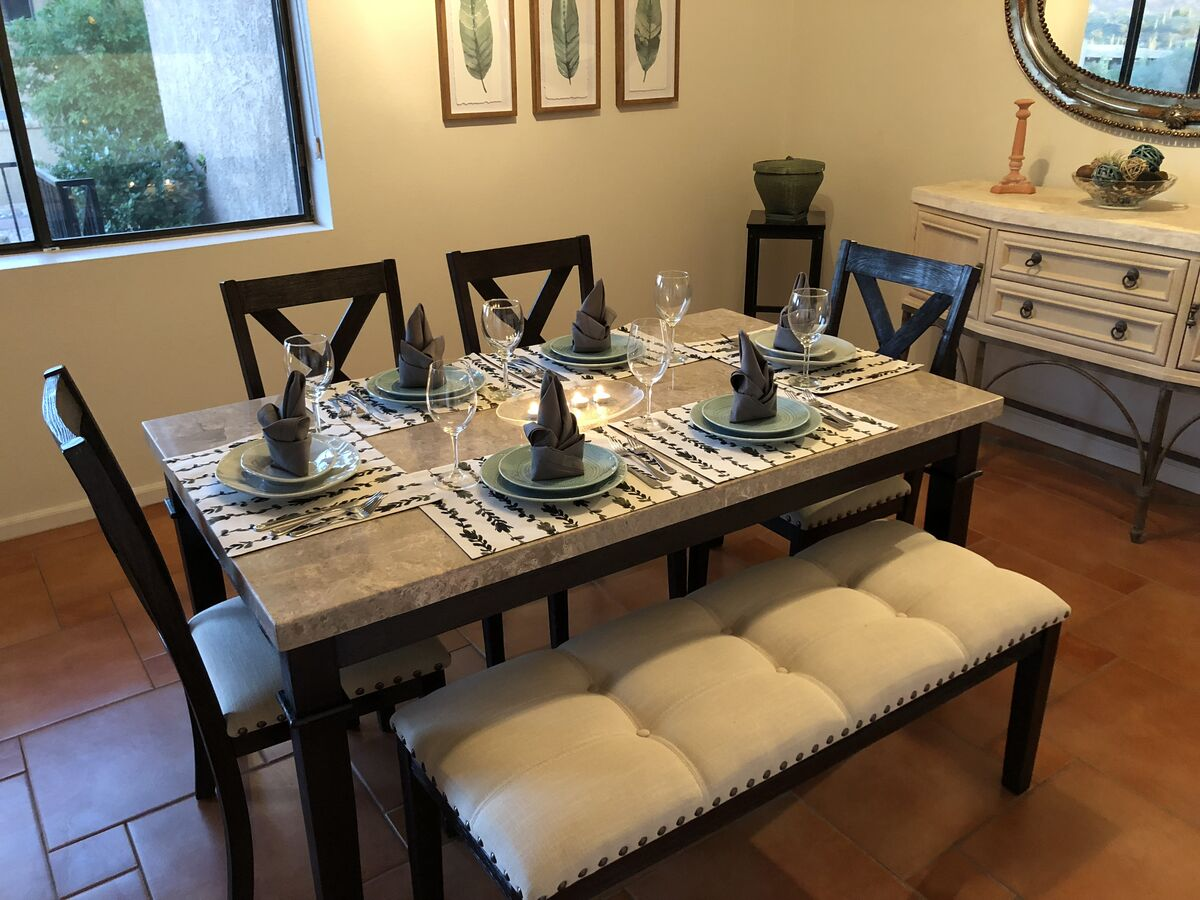 Have a romantic dinner while enjoying the mountain views from your private patio