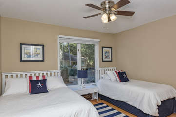 Third bedroom features 1 full bed and 1 twin bed along with a blow up air mattress.