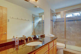 Downstairs bath has twin sinks and extra large shower.