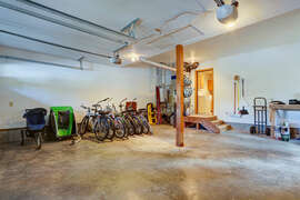 The house comes with nine bicycles, a bike trailer for toddlers, jogging stroller and an assortment of bike helmets.