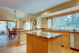 Beautiful granite counter tops throughout the kitchen.