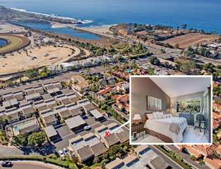 Aerial shot of the property and featured thumbnail photo of the master bedroom. Walk to the Track or the beach!