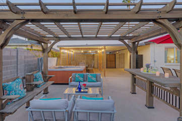 The backyard gazebo is a delightful retreat for those who want to enjoy the warm sunshine that occurs 300+ days in the Greater Phoenix area