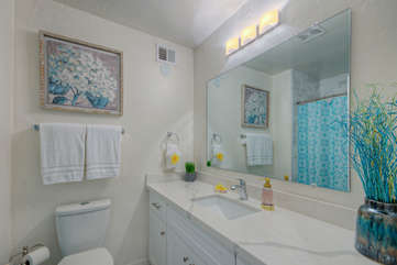 Remodeled master bath includes a tub shower combination