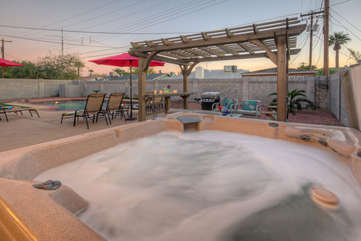 A blissful hot tub invites romantic interludes with that special someone