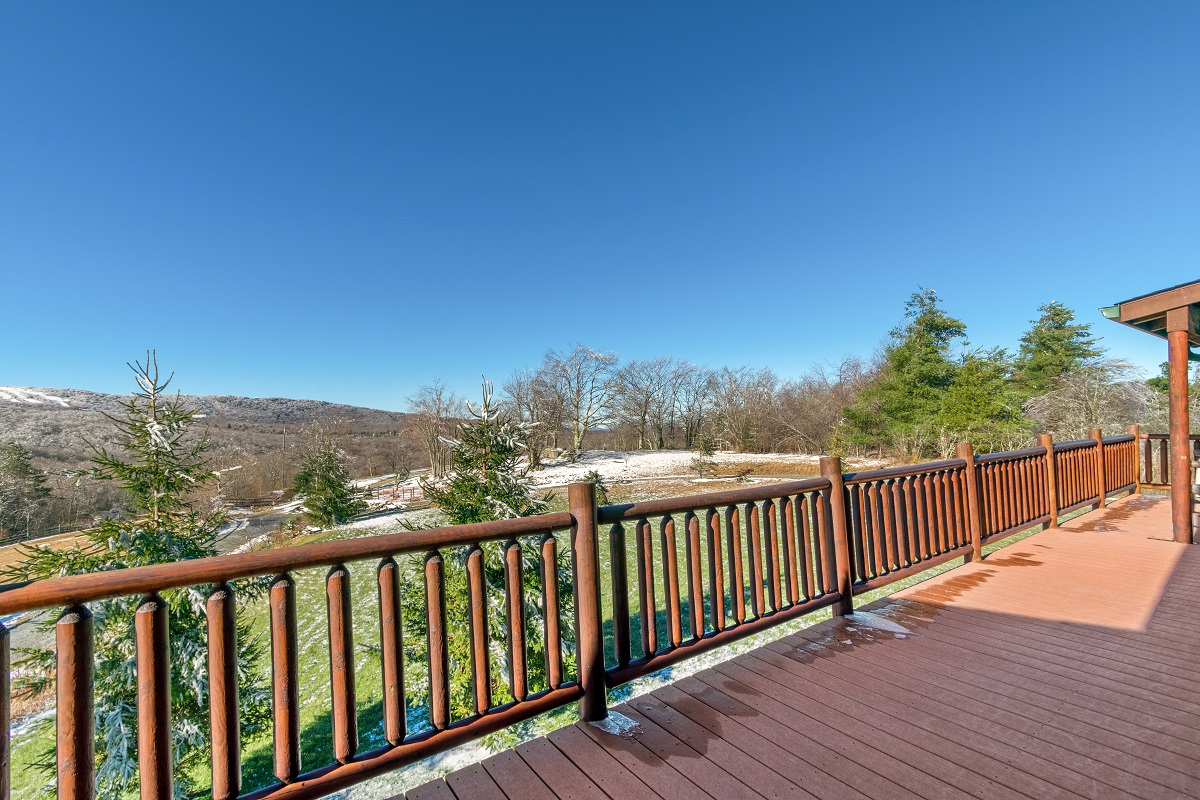 Front deck with mountain views