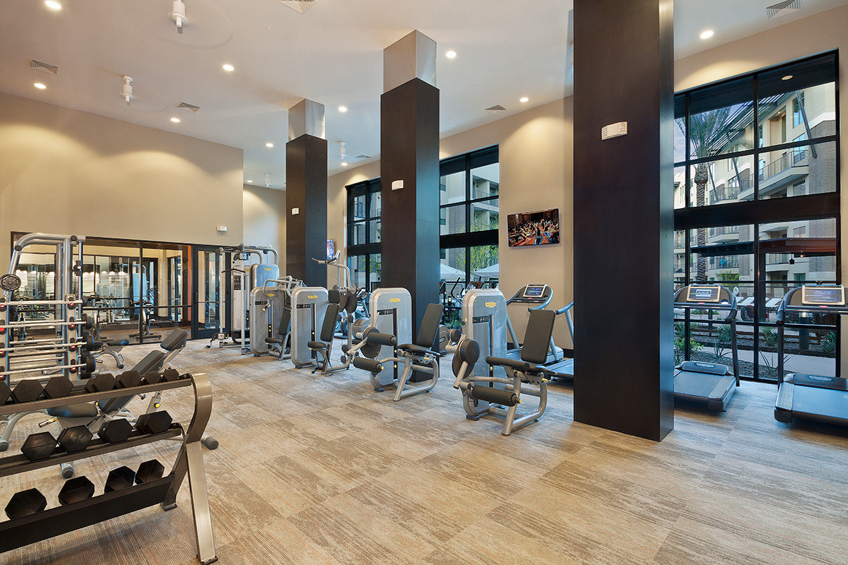 Brand new fitness center w/ cardio equipment, weights and flat screen TV's.  Free Wifi