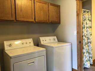Treetop Cabin Laundry Room off downstairs bath