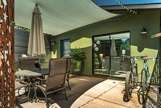 Spacious Patio with Racks for Your Bikes