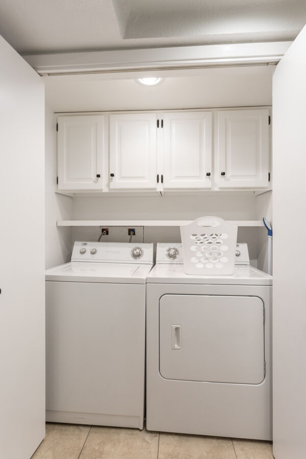 Full size washer and dryer in condo