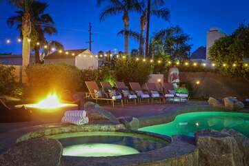 Watch the desert stars on the cozy bean bag chairs fireside by the 5 ft wide fire pit
