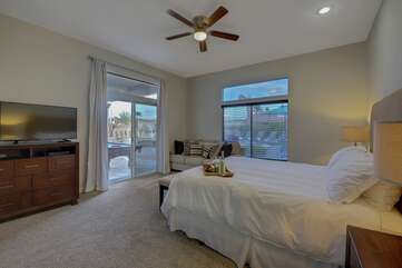 The master bedroom has a 4th slider for easy access to the backyard pool area