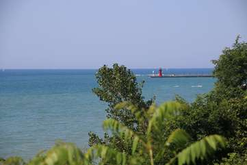 Enjoy South Haven Lighthouse from Yard
