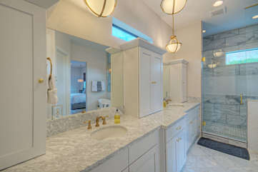 Primary ensuite bath features a generous sized walk-in shower
