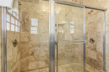 Newly renovated granite shower.