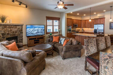 Oversized, plush furniture welcomes your entire group to Moraine Circle 38 after a long day of activities