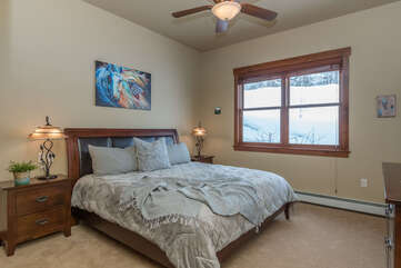Main level master bedroom with King bed & new bedding