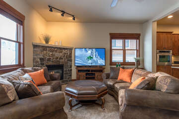 Enjoy the large Smart TV in the main living room