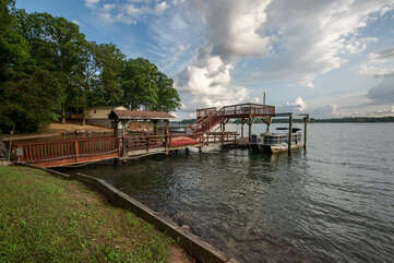 2-Story dock, with boat available for rent!