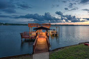 Luxurious walkway out to the dock, ligighting for evenings on the lake.