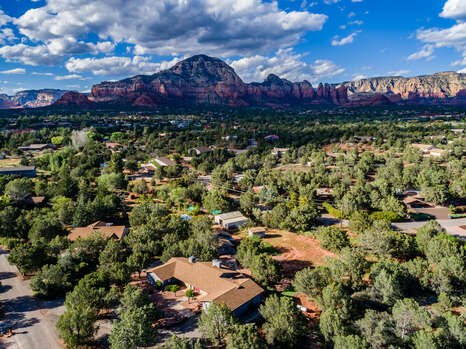 Aerial Views of Sedona El Camino Retreat and Casita