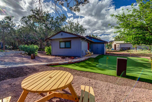 Picnic Seating, Putting green, and Free Standing Casita Casita