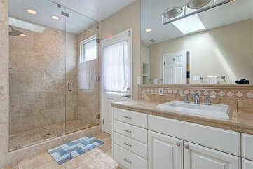 Master bathroom, with a beautiful shower.