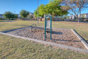 Get in shape on the exercise course when you visit the Alta Mesa Park across from the neighborhood