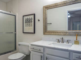 Master bath with updates and tub/shower combo