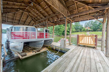 Boat house provides shade and room for guests to relax when not on the boat! Don't forget to ask about our pontoon rentals!
