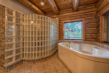 Master suite full attached bath.  Large glass tile walk in shower, garden tub for relaxing after a fun day on the lake.