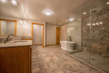 Lower level master bathroom - large walk in shower, jetted tub.