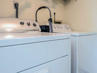 Laundry room off of kitchen with full size washer/dryer