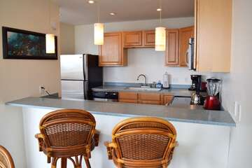 Large kitchen with bar seating