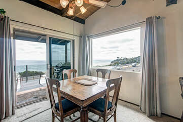 Dining area with views of the ocean.