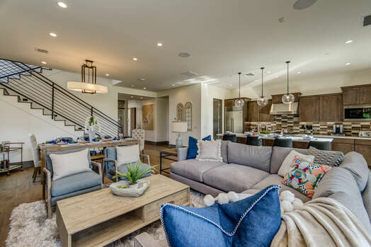 Stunning Great Room - Living Room, Kitchen and Dining Area