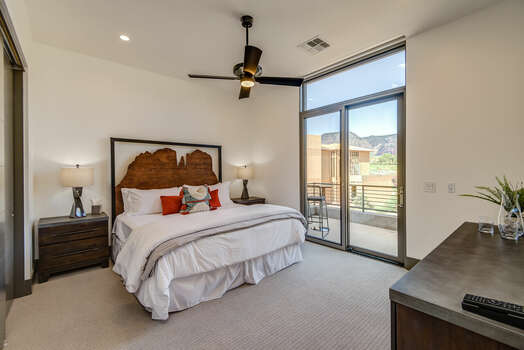 Bedroom 2 with a King Bed and Private Balcony with Golf Course and Mountain Views too!