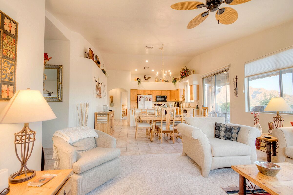 Open to family room for easy entertainment