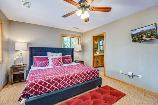 Master Bedroom with a King Bed, TV with Cable Programming and a Private Bath