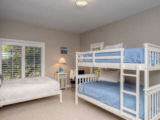 Guest bedroom with Full size bunk beds