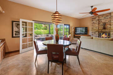 Breakfast Table to Family Room and Patio