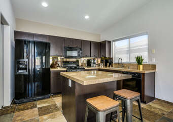 Kitchen with Island Bar Top