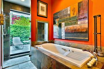 Casita Bathroom with Jacuzzi Tub and Patio Access