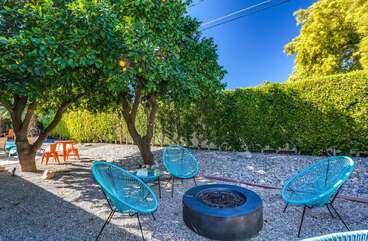 Fun Backyard Seating with Fire Pit