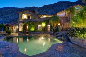 Saltwater Pool and House at Night