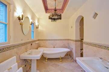 Master Bath with Shower and Elegant Tub