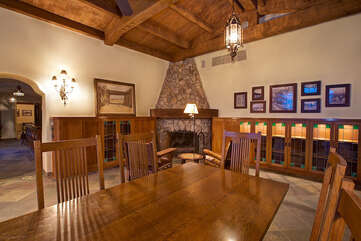 Dining Table Looking to Original Stone Fireplace